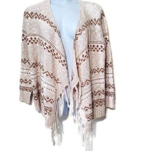 Old Navy open knit cardigan sweater with fringe